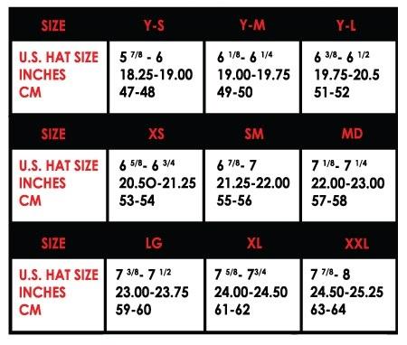 Таблица размеров шлемов FLY RACING