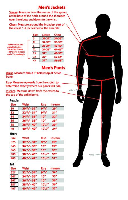Размеры дорожных курток и брюк