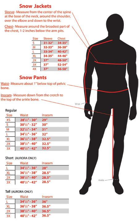Размеры снегоходной одежды