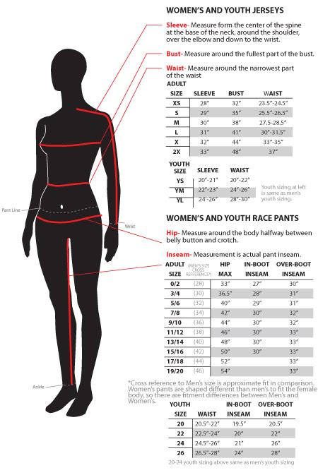 Размеры джерси и кроссовых брюк женщины