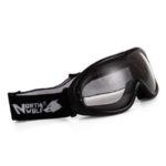 Очки горные лыжи/сноуборд/снегоход NORTH WOLF 832 черные прозрачные