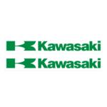 "Наклейка ""KAWASAKI ""K"" WHITE"" зеленая 9*24см"